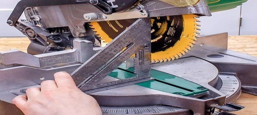 Use the speed square to check the blade